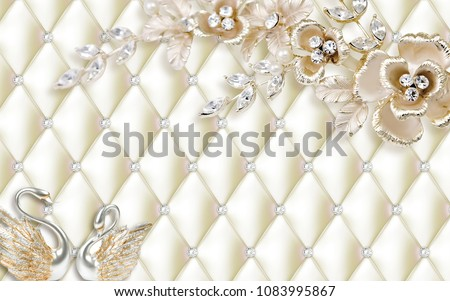 3D capitone wallpaper design with jewels
