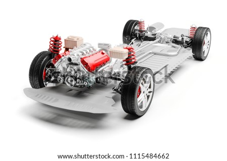3d car chassis with motor, wheels and suspension, on white background