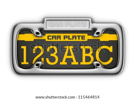 3D Car Plate isolated