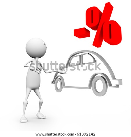 3d car sale at a discount. On an isolated white background.