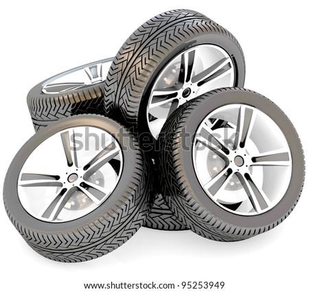 3d car wheels on white background.