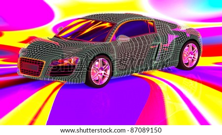 3d car wire model on the background