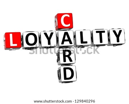 3D Card Loyalty Crossword on white background