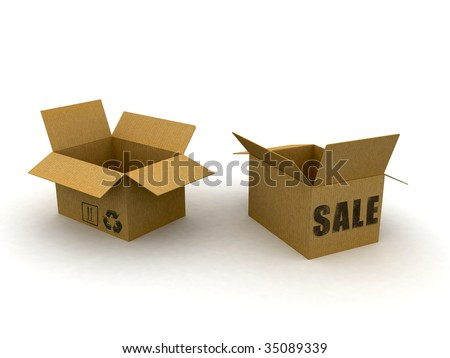 3d cardboard box isolated with sale text