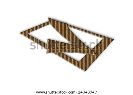 3d cardboard tick sign over white background