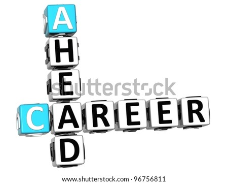 3D Carrer Ahead Crossword cube words on white background