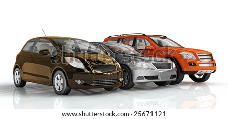 3D cars isolated on white background. Excellent material for web banners