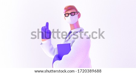 3D cartoon character. Attention. Doctor of medicine, insurance template -modern 3D illustration. Young bearded man wearing mask, glasses, medical coat, tie, pointing wearing latex gloves, holding