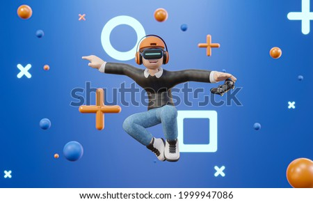 3D cartoon character man wearing virtual reality glasses and floating in the air playing a video game isolate blue background, video game - 3D render