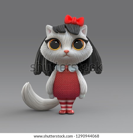 3d cartoon character of a little cute girl kitty in red dress and in striped stockings. Brunette cat girl with big yellow eyes and red bow on her head. Character design white fluffy cat. 3D rendering.