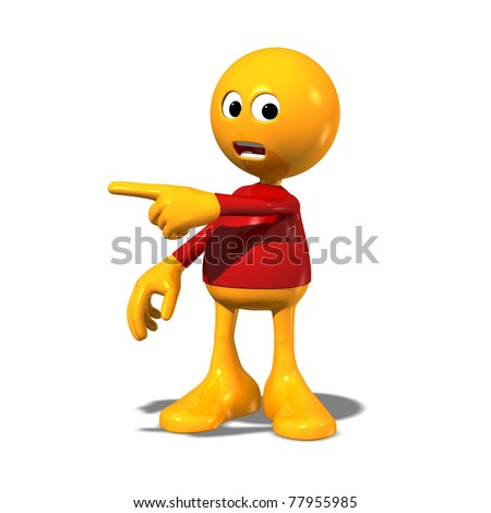 3d cartoon character pointing right