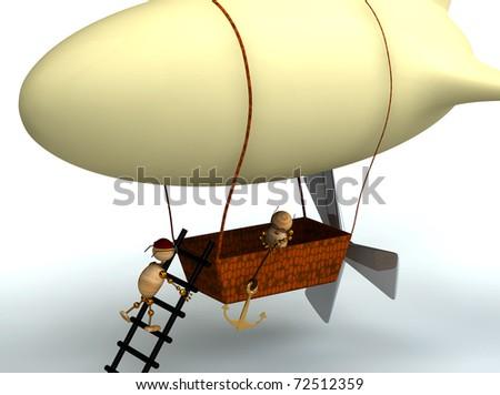 3d cartoon dirigible balloon with wood mans