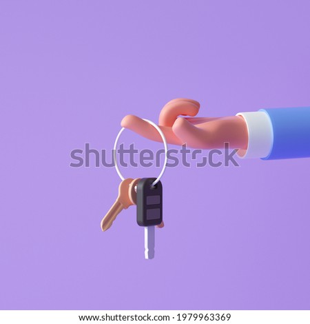 3d cartoon hand holding keys on purple background. 3d render illustration