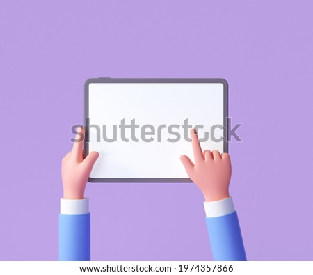 3D Cartoon hand holding tablet isolated on purple background, Hand using tablet mockup. 3d render illustration