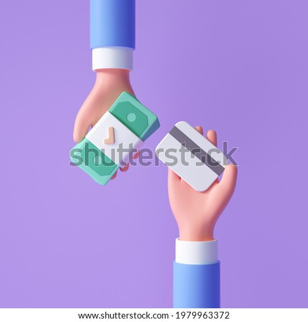 3d cartoon hand swap banknote and credit card for online payment concept. online buying, Cashless society. 3d render illustration
