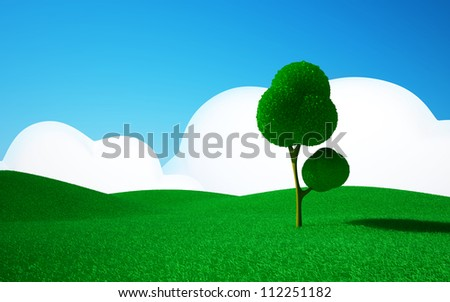 3d cartoon landscape, a tree on a green field, hills and blue sky with clouds