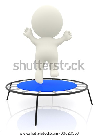 3D cartoon man jumping on a trampolin and having fun - isolated