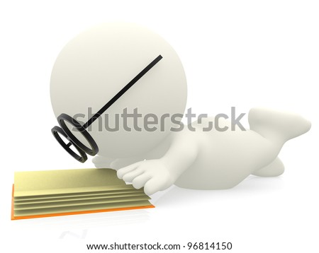 3D cartoon nerd reading a book - isolated over white background - stock photo