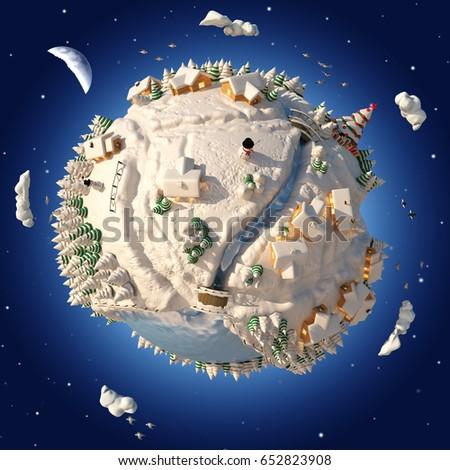 3D Cartoon Planet Winter #652823908
