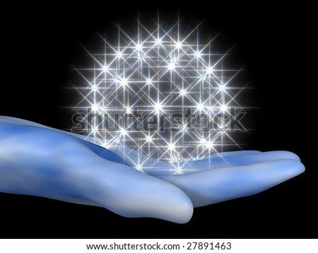 3D cartoon representing a hand with a halo of stars