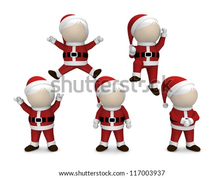 3d cartoon santa claus isolated on white background