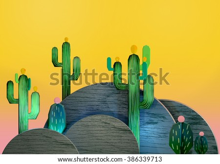 3d cartoon stylized decorations. Mexican theme.  Flat hills with cactuses . Wooden theatrical scenery style, or layered as pop-up books. Vivid yellow background.