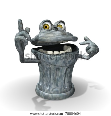 3d Cartoon trash can character pointing