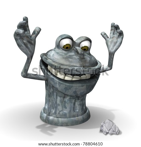 3d Cartoon trash can character surprised