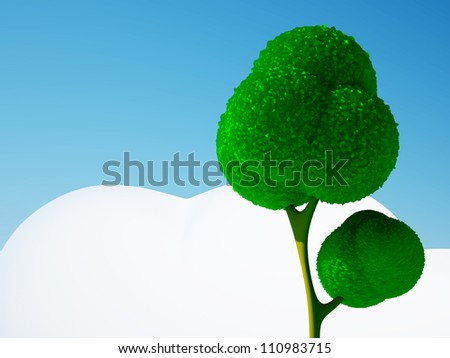 3d cartoon tree and blue sky with cloud