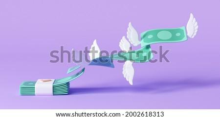 3D Cash flying away, business finance management concept, money spending, money bundle. 3d render illustration