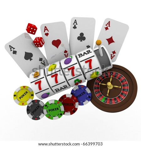 3d casino items - stock photo