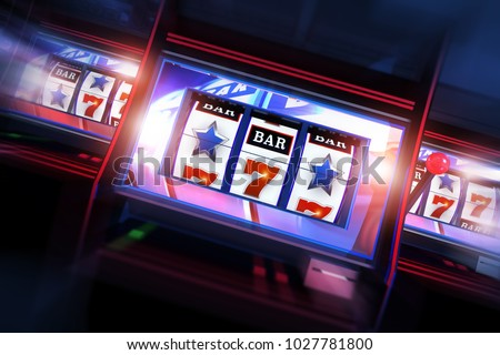 3D Casino Slots Concept. 3D Illustration of Three Slot Machines. Casino Games.