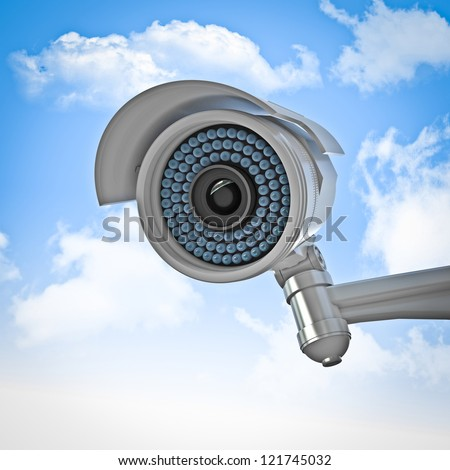 3d cctv and sky background