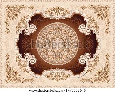 3-D ceiling painting in Classic style, the arch of the main hall, gold ornaments on beige and brown background, stucco white ornaments
