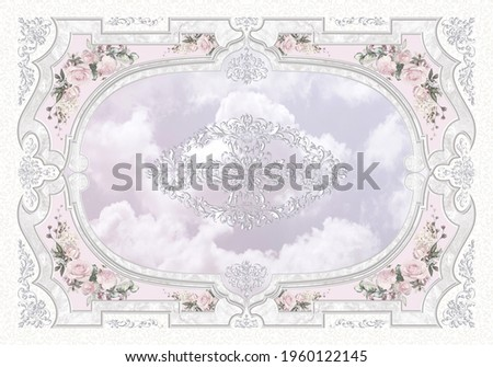 3-D ceiling painting in Classic style, the arch of the main hall, silver ornaments on  lilac cloudy sky background, stucco white moldings, grey marble frame, pink roses Сток-фото ©