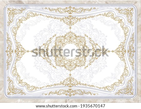 3-D ceiling painting in Classic style, the arch of the main hall, stucco white molding and gold and silver ornaments on grey and beige marble background Сток-фото ©