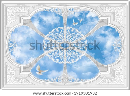 3-D ceiling painting in Classic style, the arch of the main hall, stucco white ornaments, white pigeons and clouds in the blue sky.