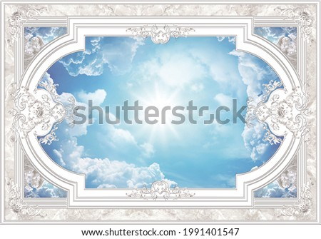 3-D ceiling painting in Classic style, the arch of the main hall, stucco white ornaments, white angels, sun and clouds in the blue sky. Сток-фото ©