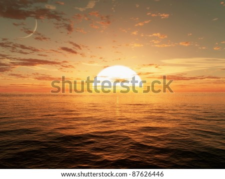 3d CG image of the sun setting over the ocean