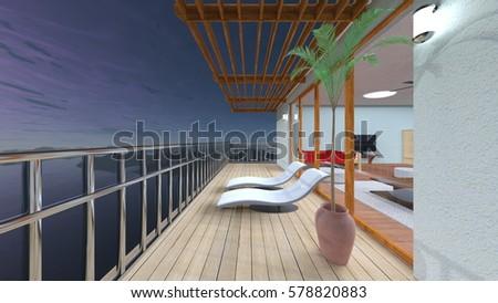 3D CG rendering of balcony