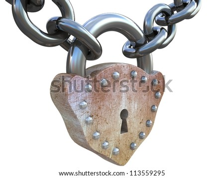 3D chain are closed on a lock