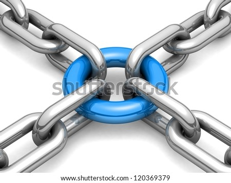 3d chain chrome cross security metal. illustration of a single chain link isolated on white background. Business and Sports concept