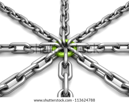 3d chain chrome green cross security metal. illustration of a single chain link isolated on white background. Business and Sports concept