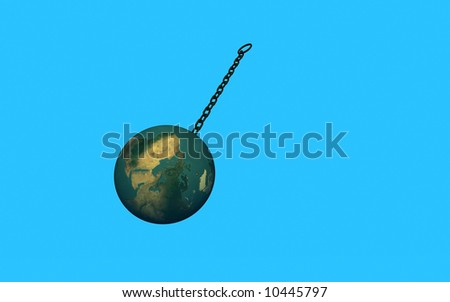 3d Chained Earth on a blue background