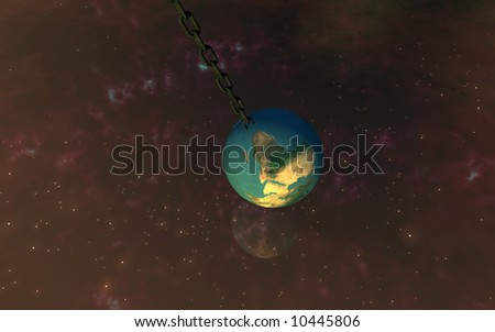 3d Chained Earth with reflection of  the nebula and stars