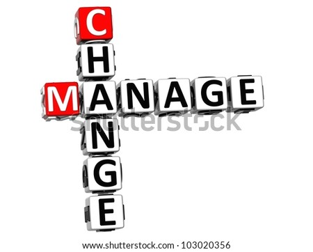 3D Change Manage Crossword on white background