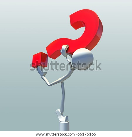 3D character balancing with red question mark