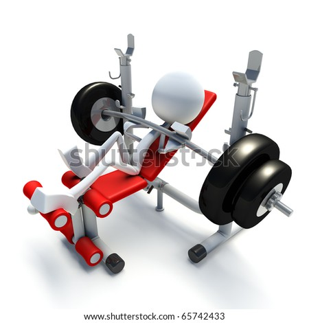 3D character doing bench press in gym