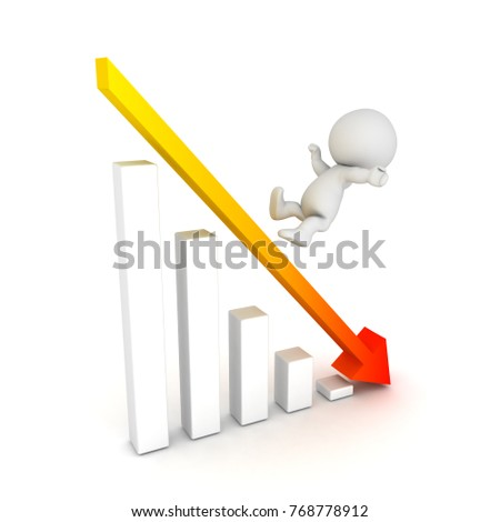 3D Character falling off of graph showing decline. Isolated on white.