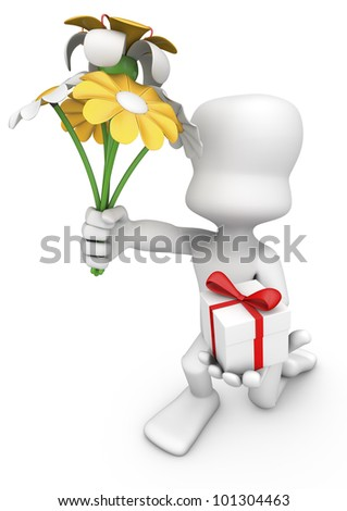 3d character kneeling delivering a bouquet of flowers and a gift